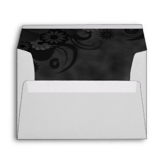 Black Chalkboard Floral Elegant Wedding Envelopes