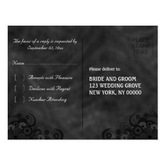 Black Chalkboard Floral Gothic RSVP Reply Postcard