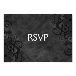 Black Chalkboard Floral Gothic RSVP Response Card