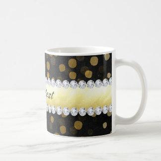 Black Chalkboard Gold Confetti Diamonds Coffee Mug