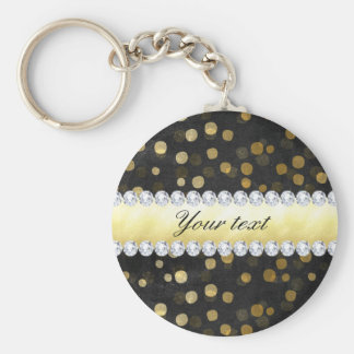 Black Chalkboard Gold Confetti Diamonds Keychain
