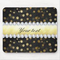 Black Chalkboard Gold Confetti Diamonds Mouse Pad