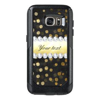 Black Chalkboard Gold Confetti Diamonds OtterBox Samsung Galaxy S7 Case