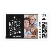 BLACK CHALKBOARD HAPPY HOLIDAY PHOTO POSTAGE