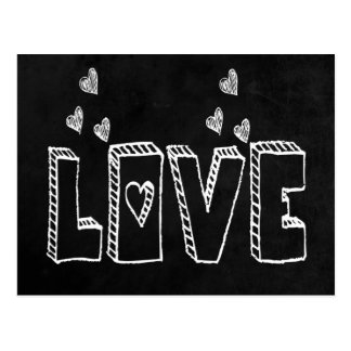 Black Chalkboard Love & Hearts Vintage Wedding Postcard