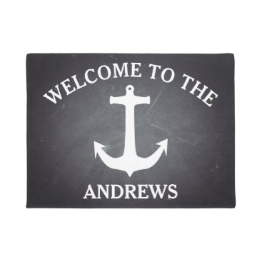 Beach Themed Black Chalkboard Modern Welcome Personalized Doormat