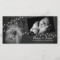 Black Chalkboard Photos Light Peace Love Christmas Holiday Card