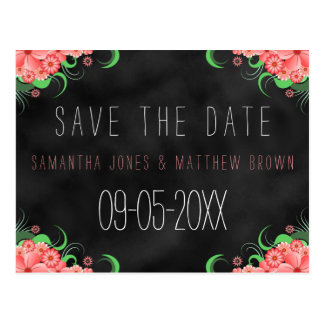 Black Chalkboard Pink Floral Save The Date Card