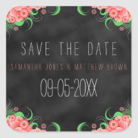 Black Chalkboard Pink Floral Save The Date Sticker