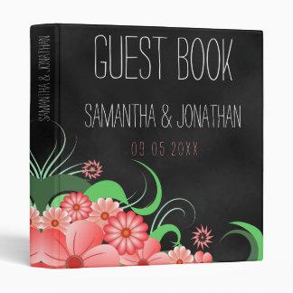 "Black Chalkboard Pink Floral Wedding 1"" Guest Book Binders"
