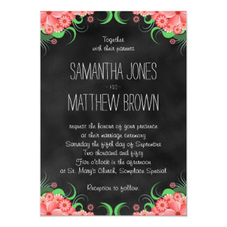 Black Chalkboard Pink Floral Wedding Invitation