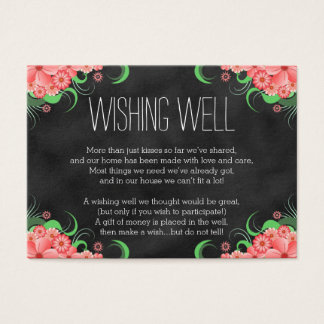 Black Chalkboard Pink Floral Wishing Well Cards