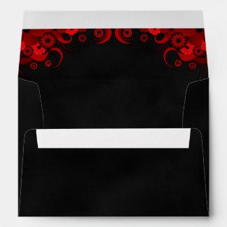 Black Chalkboard Red Floral Goth Wedding Envelopes