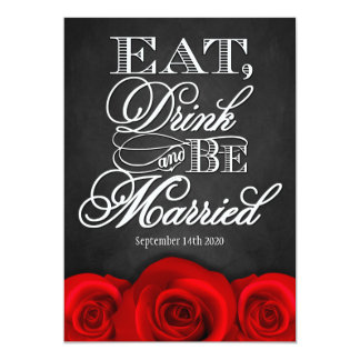 "Black Chalkboard Red Rose Wedding Invitations 5"" X 7"" Invitation Card"
