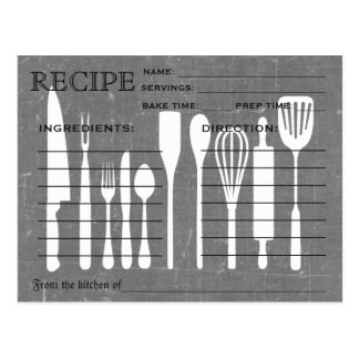 Black Chalkboard Retro Recipe Card Kitchen Tools