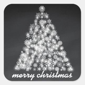 Black Chalkboard Sparkly Christmas Snowflake Tree Square Sticker