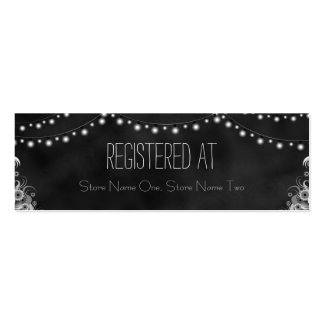 Black Chalkboard String Lights Mini Registry Cards Double-Sided Mini Business Cards (Pack Of 20)