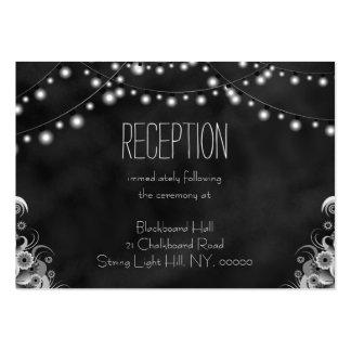 Black Chalkboard String Lights Reception Enclosure Large Business Cards (Pack Of 100)