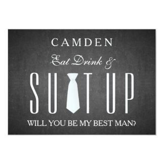Black Chalkboard Suitup Will you be my Bestman 5x7 Paper Invitation Card