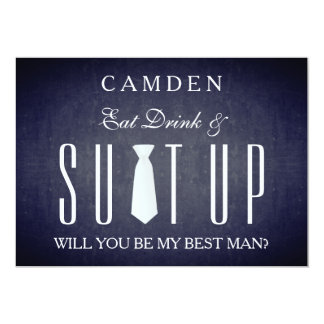 Black Chalkboard Suitup Will you be my Bestman Card