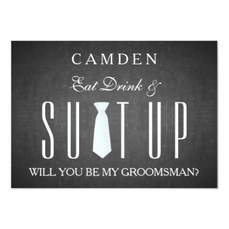 Black Chalkboard Suitup Will you be my groomsman Card