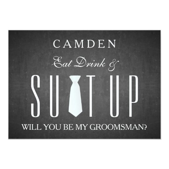 Black chalkboard suitup will you be my groomsman card zazzle black chalkboard suitup will you be my groomsman card junglespirit Images
