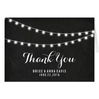 Black Chalkboard Summer String Light Thank You Card