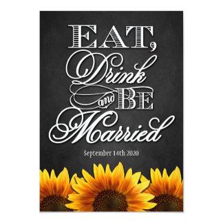 "Black Chalkboard Sunflower Wedding Invitations 5"" X 7"" Invitation Card"