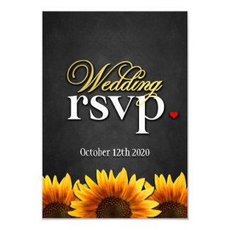 "Black Chalkboard Sunflower Wedding RSVP Cards 3.5"" X 5"" Invitation Card"