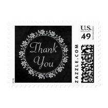 Black Chalkboard Thank You Floral Wedding Postage