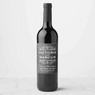 Black Chalkboard Wedding Wine Bottle Favor Wine Label