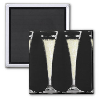Black Champagne Flute Glass with Bubbles Design Refrigerator Magnets