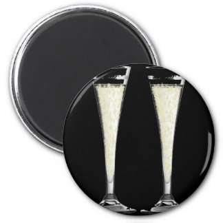 Black Champagne Flute Glass with Bubbles Design Magnets
