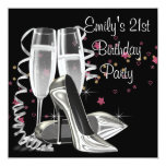 Black Champagne High Heels 21st Birthday Party Announcements