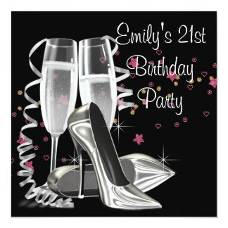 "Black Champagne High Heels 21st Birthday Party 5.25"" Square Invitation Card"