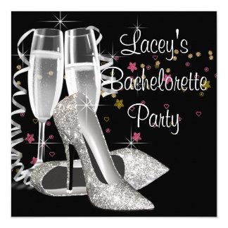 Black Champagne High Heels Bachelorette Party Card