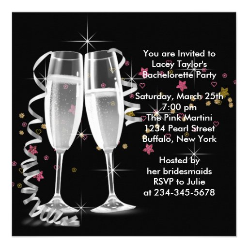 Black Champagne High Heels Bachelorette Party Personalized Invites (back side)