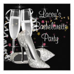 Black Champagne High Heels Bachelorette Party Personalized Invites