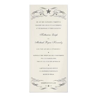 Black & Champagne Lone Star Wedding Invitations