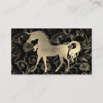 Black Champaign Gold Floral Unicorn Roses Garden Business Card