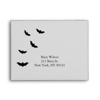 Black Chandelier and Bats RSVP Envelope