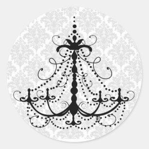round black chandelier black and gold black chandelier and damask classic round sticker chandelier stickers sticker designs zazzle