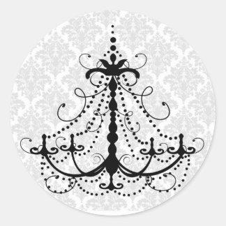 Black chandelier and damask classic round sticker