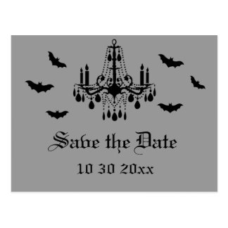 Black Chandelier and Damask Save the Date Postcard