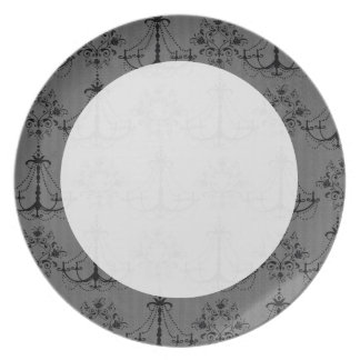 black chandelier damask pattern dinner plate