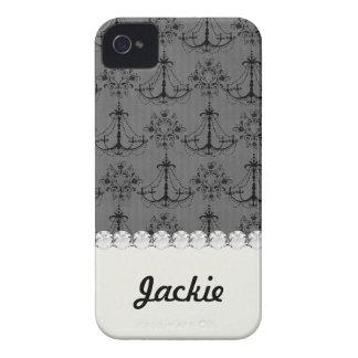 black chandelier damask pattern iPhone 4 case