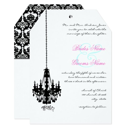 Black Chandelier Damask Wedding Invitations