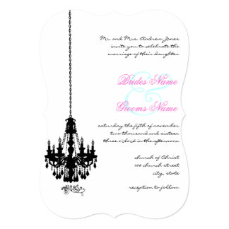 Black Chandelier Damask Wedding Invitations