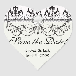 black chandelier on white modern damask design heart sticker