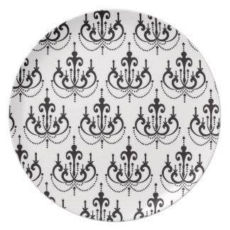 black chandelier on white modern damask design melamine plate